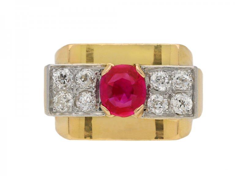 Burmese ruby diamond cocktail ring berganza hatton garden