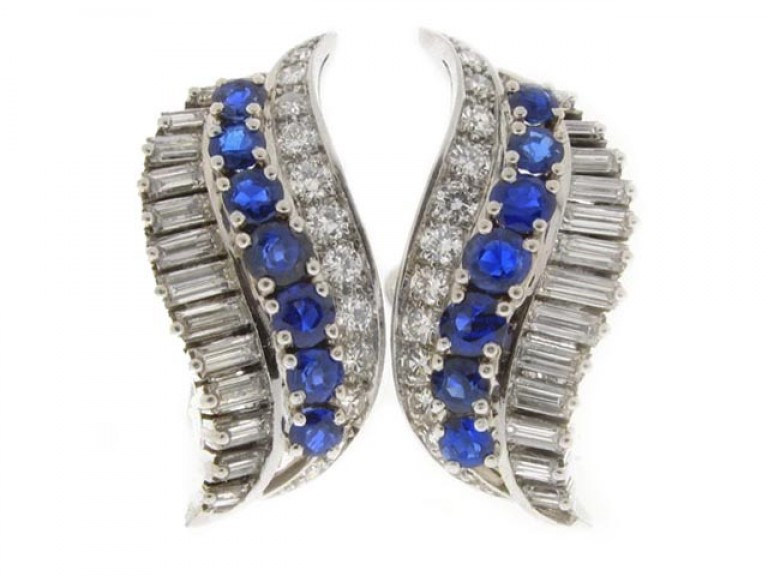 front view Gubelin sapphire and diamond earrings, circa 1960's.