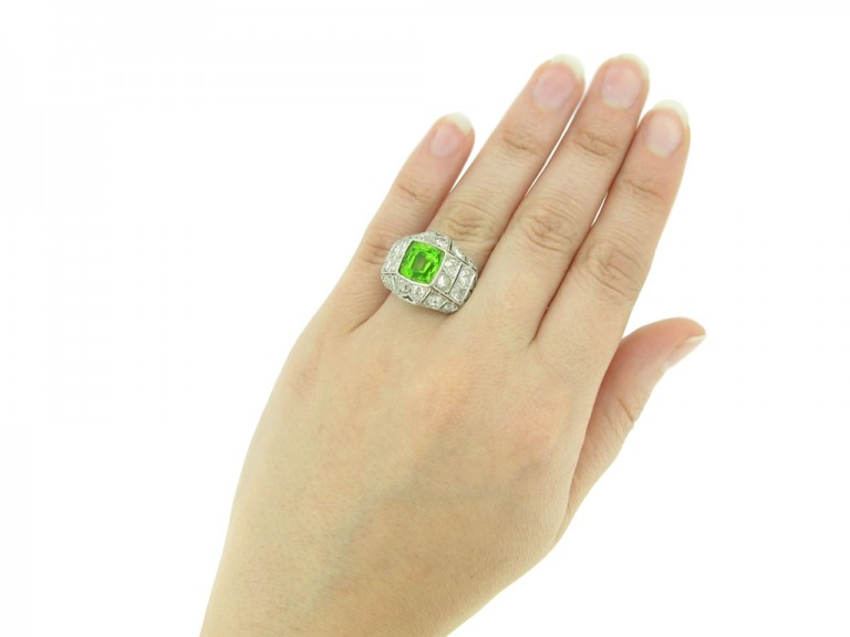 antique Peridot diamond ring berganza hatton garden