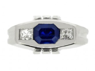 front view Sapphire and diamond three stone ring in platinum, circa 1935.