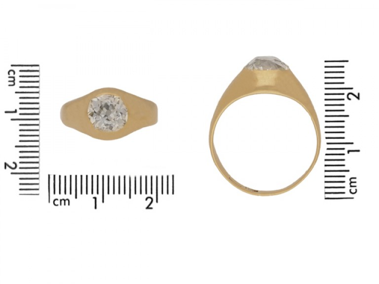 size view Cushion shape old mine diamond ring, circa 1900.
