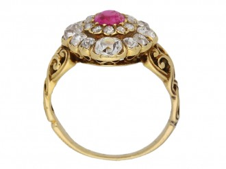 back view Antique ruby diamond cluster ring berganza hatton garden