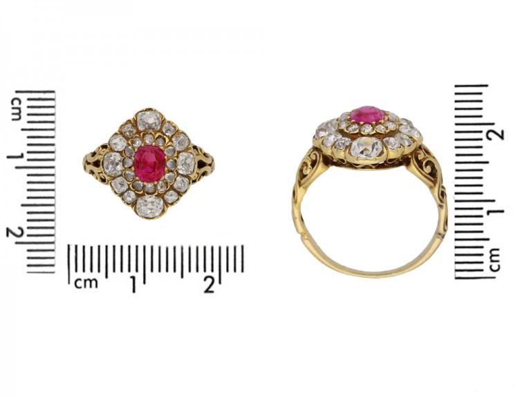 size view Antique ruby diamond cluster ring berganza hatton garden