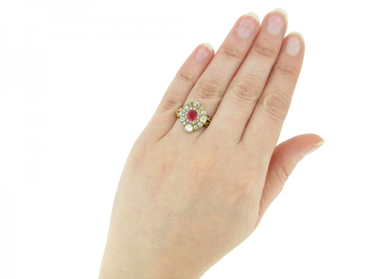 hand view Antique ruby diamond cluster ring berganza hatton garden