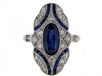 front view Art  Deco sapphire and diamond ring, French, circa 1925.