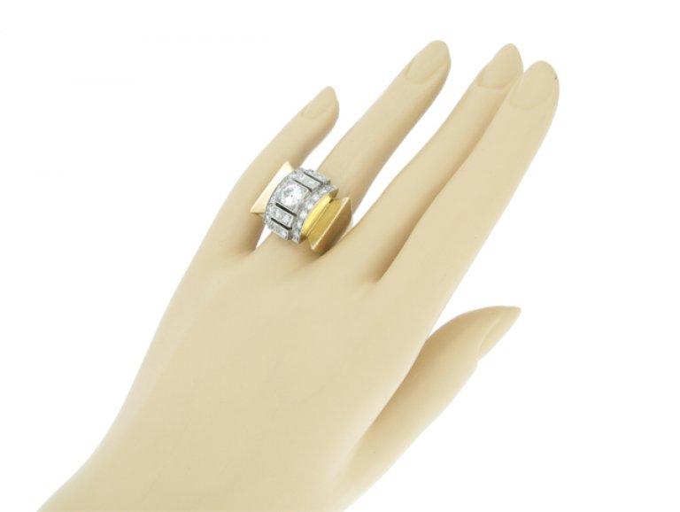 hand view Diamond cocktail ring, circa 1940.