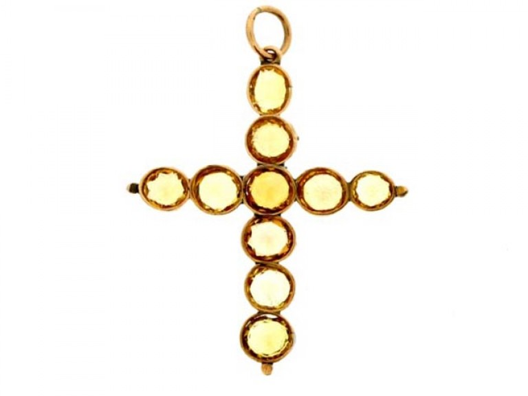 back view Antique precious topaz cross, circa 1840.