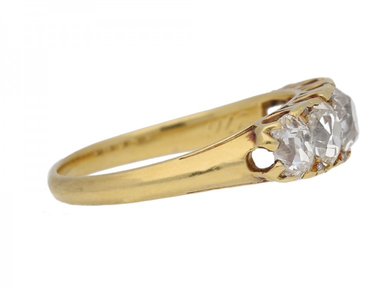 side view Antique diamond five stone ring berganza hatton garden