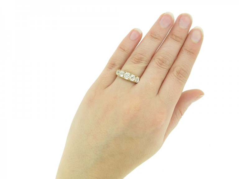 hand view Antique diamond five stone ring berganza hatton garden