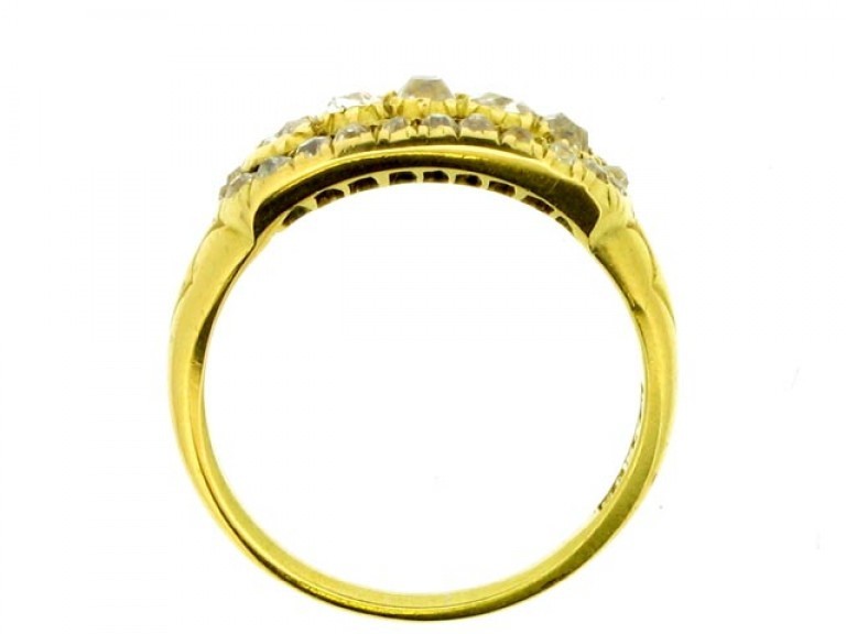 back view Wright & Son antique diamond cluster ring in gold, English, circa 1906.