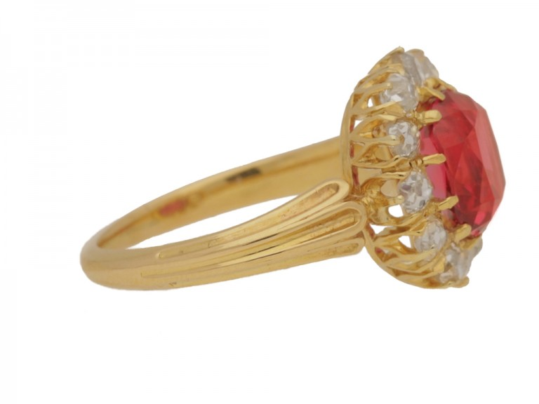 side view  Antique red spinel and diamond cluster ring, circa 1890.