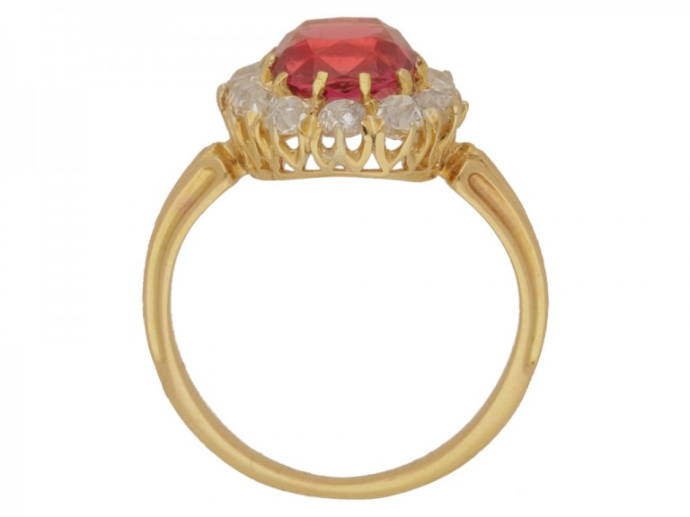 back view Antique red spinel and diamond cluster ring, circa 1890.