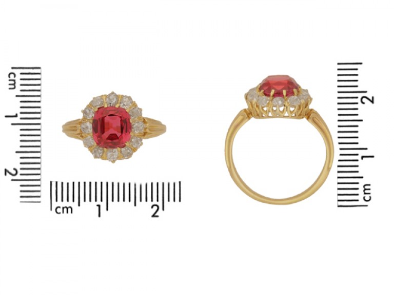 size view Antique red spinel and diamond cluster ring, circa 1890.