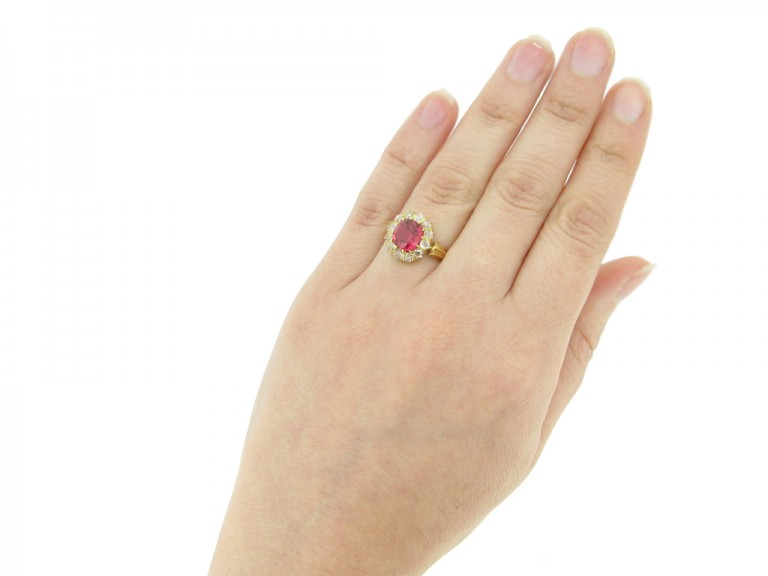 hand view Antique red spinel and diamond cluster ring, circa 1890.