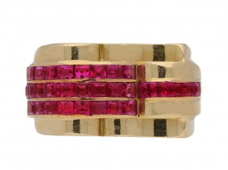 front view antique ruby cocktail ring berganza hatton garden
