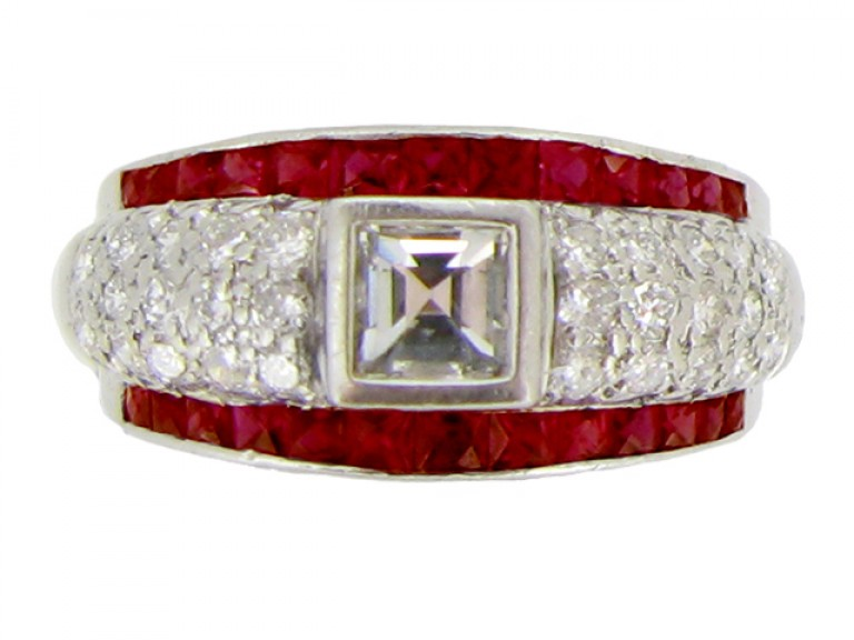 front view Ruby and diamond ring, circa 1950.