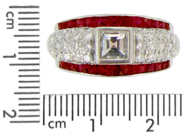 size view Ruby and diamond ring, circa 1950.