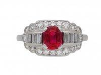 vintage Whitehouse Bros ruby diamond ring berganza hatton garden