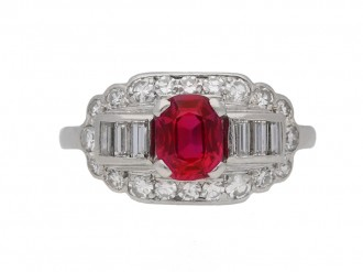 vintage Whitehouse Bros ruby diamond ring berganza hatton garden