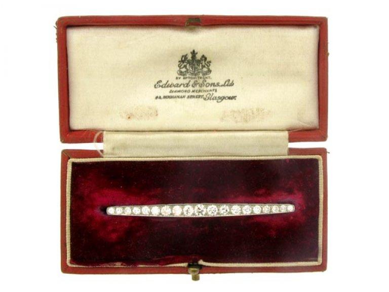 boxed view Diamond bar brooch, circa 1930.