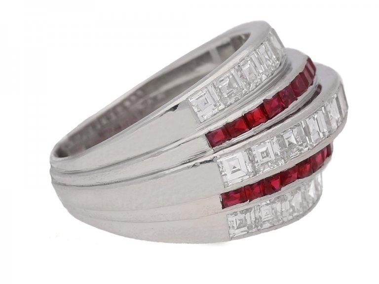 side view Oscar Heyman Brothers ruby and diamond ring, American, circa 1935.