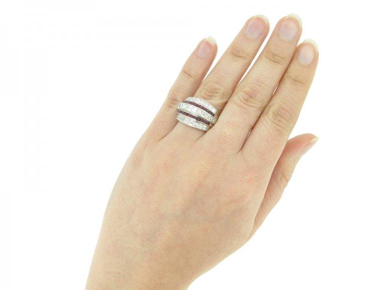 hand view Oscar Heyman Brothers ruby and diamond ring, American, circa 1935.