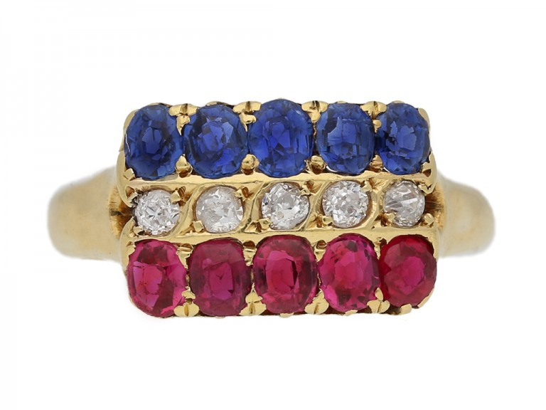 front view Antique ruby sapphire diamond ring berganza hatton garden