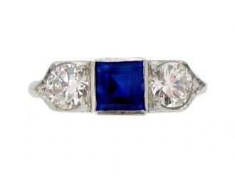 front view Sapphire and diamond three stone ring, circa 1935.
