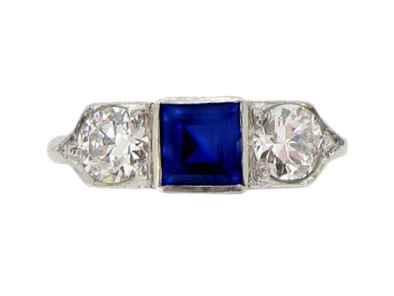 front view Sapphire and diamond three stone ring, circa 1935.