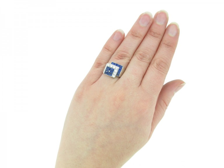 front view tiffany diamond sapphire ring hatton garden berganza