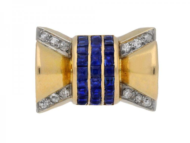 front view antique diamond sapphire ring berganza hatton garden