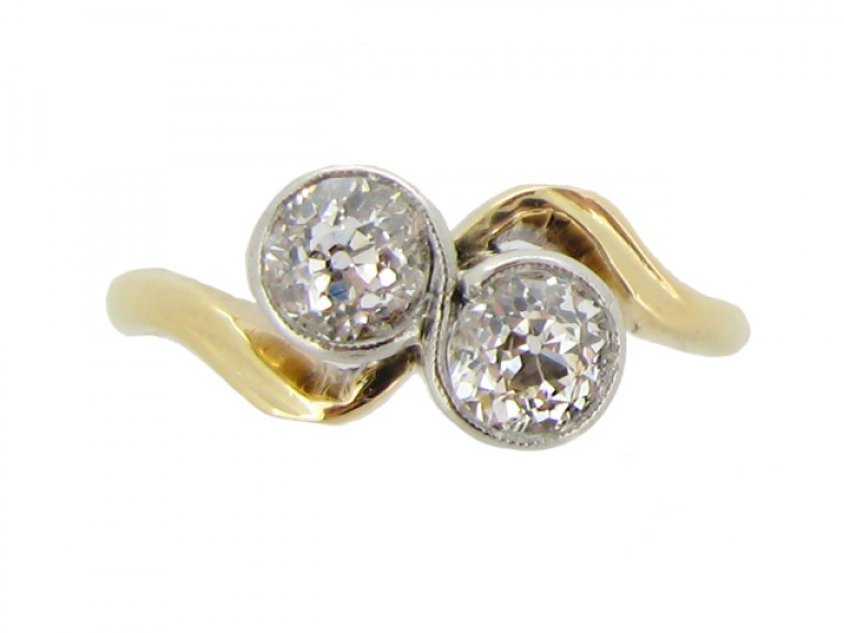 front veiw antique diamond crossover ring hatton garden berganza