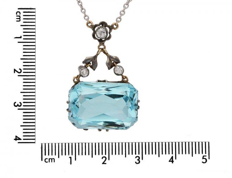 antique diamond aquamarine pendant hatton garden berganza
