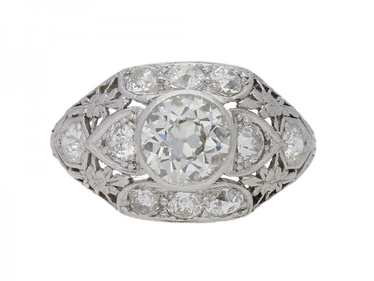 front view Old cut diamond cluster ring in platinum, circa 1920.