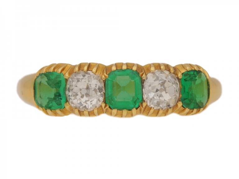 front view Antique emerald and diamond ring, circa 1890.