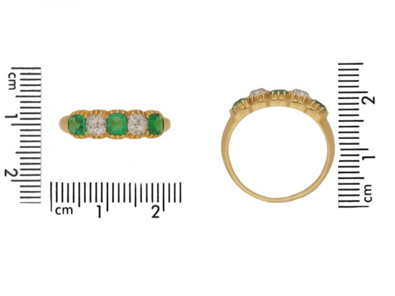 size view Antique emerald and diamond ring, circa 1890.