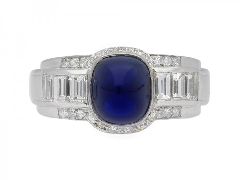front view antique suger loaf sapphire diamond ring hatton garden berganza