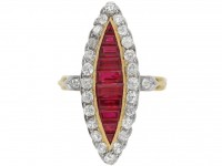 antique Ruby diamond marquise ring berganza hatton garden