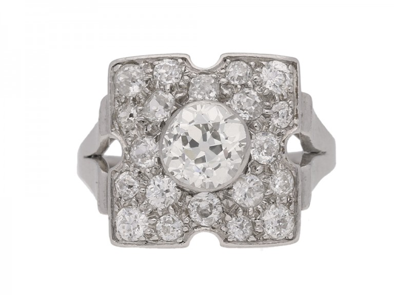 front view Art Deco old cut diamond ring, circa 1935.