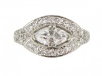 front view Marquise diamond cluster ring, circa 1935.