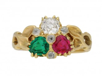 front view Antique diamond ruby emerald ring berganza hatton garden