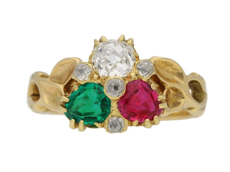 front view Antique diamond ruby emerald ring berganza hatton garden