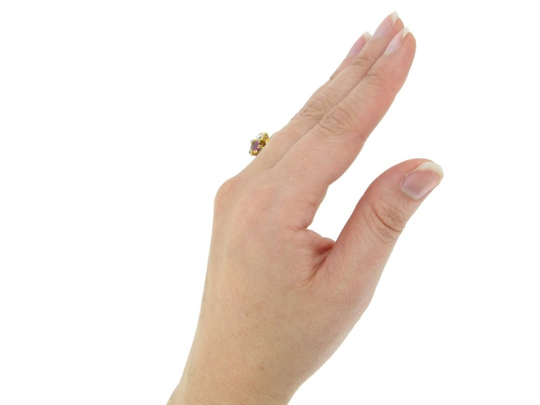 Antique diamond ruby emerald ring berganza hatton garden