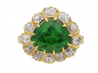 front view demantoid diamond cluster ring hatton garden berganza