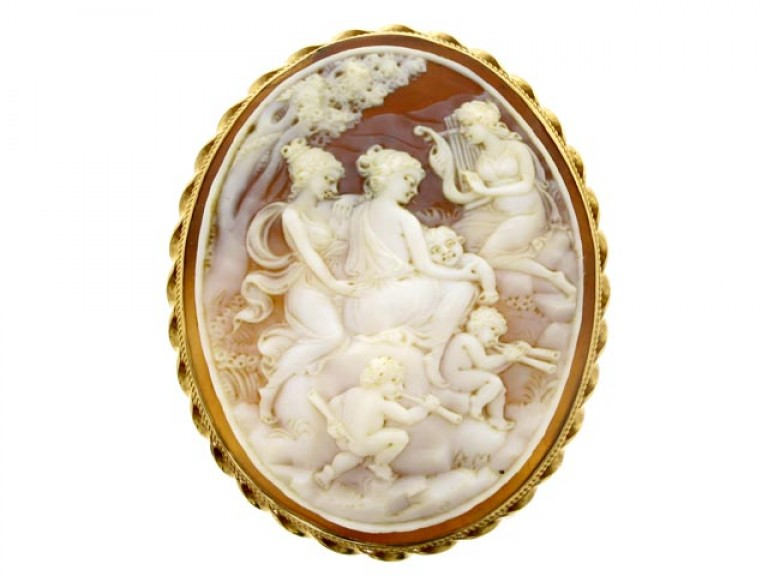 front view Antique cameo in a later gold frame.