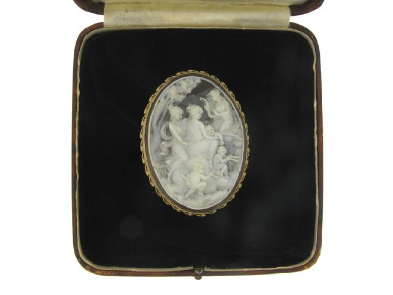 boxed view Antique cameo in a later gold frame.