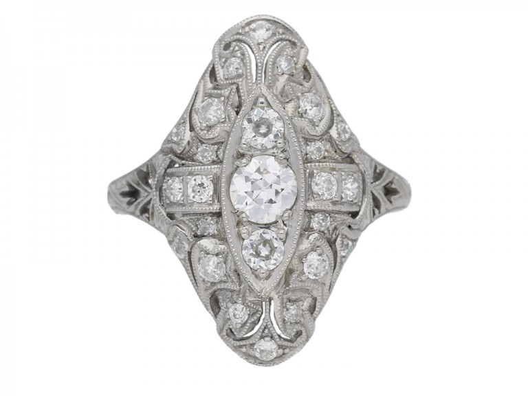 front view antique ornate diamond ring hatton garden berganza