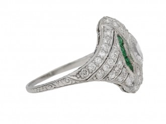 front view Antique emerald diamond ring berganza hatton garden