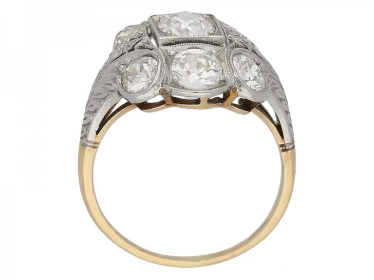 back view Edwardian diamond cluster ring berganza hatton garden