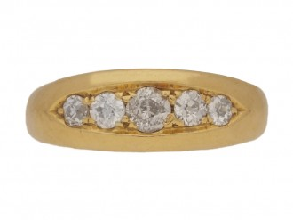 front view Antique five stone diamond ring, English, circa 1899.
